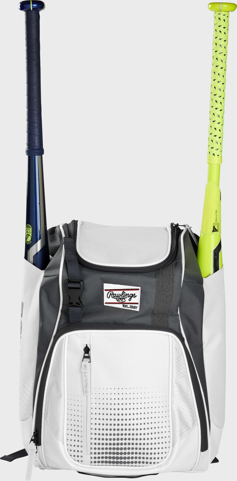Front of a white Rawlings Franchise baseball backpack with two bats in the side sleeves - SKU: FRANBP-W