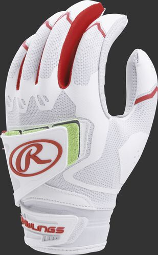 A white FPWPBG-S women's Workhorse batting glove with scarlet trim and pad over the back of the palm