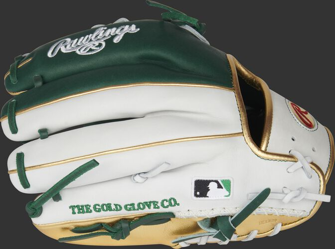 White/green back of a HOH PRO-LUCKYV infield glove with gold trim and MLB logo on the pinky - SKU: RSGPRO-LUCKYV