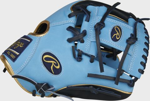 Columbia blue thumb of a 2020 exclusive Heart of the Hide R2G infield glove with a columbia blue I-web - SKU: PROR204W-2CBN