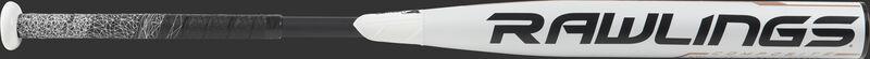 FP9Q9 Quatro fastpitch softball bat with a white barrel and black Rawlings logo