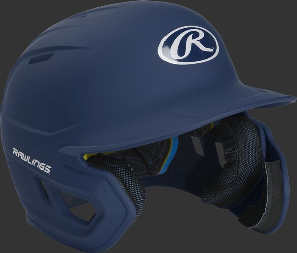 Right angle view of a MACHEXTR Rawlings Mach EXT helmet with a one-tone matte navy shell