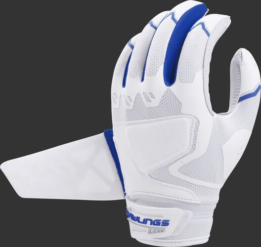 A white/navy FPWPBG-S Rawlings women's Workhorse batting glove with the Impax pad removed