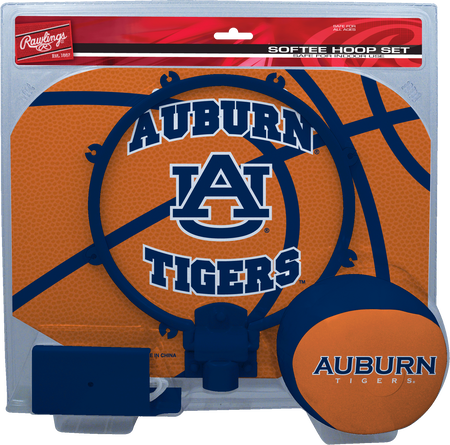 A NCAA Auburn Tigers hoop set with a navy/orange ball and team logo printed on the backboard