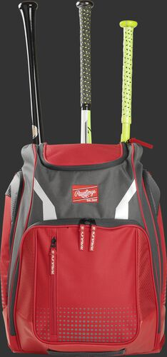 Front view of a scarlet Rawlings Legion baseball backpack with 3 bats in the back - SKU: LEGION-S