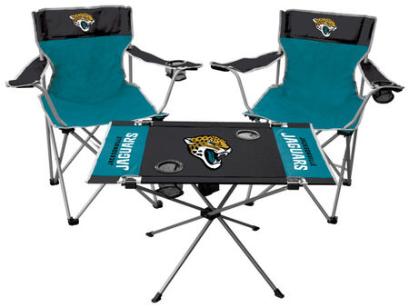 Front of Rawlings Teal and Black NFL Jacksonville Jaguars 3-Piece Tailgate Kit With Two Kickoff Chairs, An Endzone Table, And A Transport Bag With Team Logo SKU #01041091511