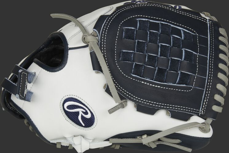 Thumb of a white RLA120-3N Liberty Advanced Color Series 12-inch infield/pitcher's glove with a navy Basket web