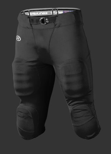 Front of Rawlings Black Adult Slotted Football Pant - SKU #FP147