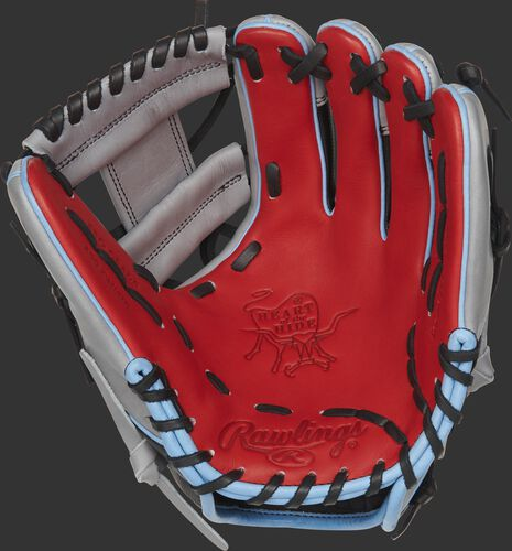 PRO204-2SGSS Rawlings ColorSync 4.0 glove with a scarlet palm and black laces