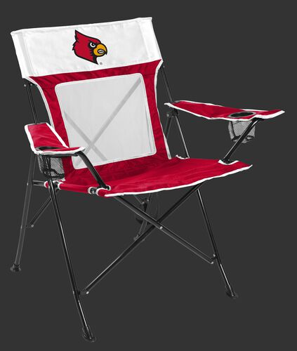 Front of Rawlings Red and White NCAA Louisville Cardinals Game Changer Chair With Team Logo SKU #00643078111
