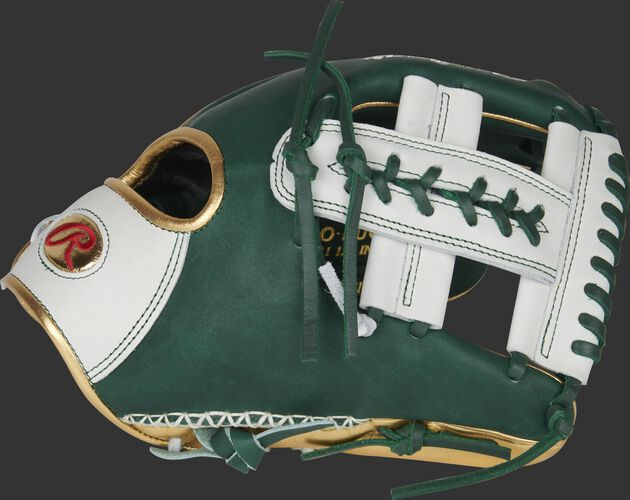 Thumb of a green/white Heart of the Hide PRO-LUCKYV 11.5-Inch infield glove with a white X-Laced Single Post web with green laces - SKU: RSGPRO-LUCKYV