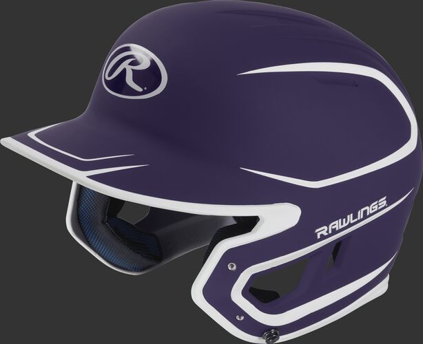 Left angle view of a Rawlings MACH Senior helmet with a two-tone matte purple/white shell