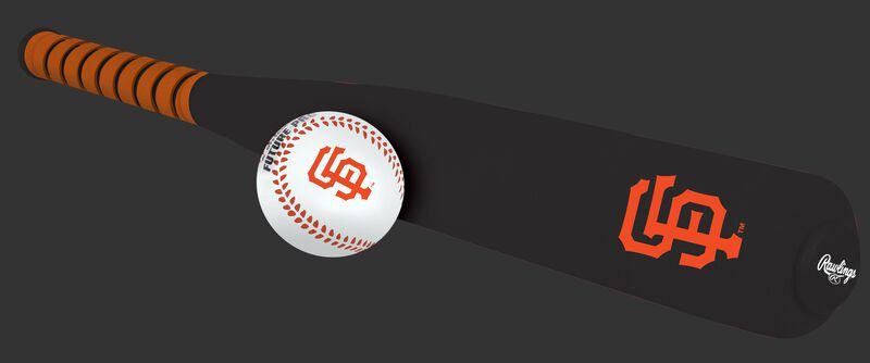 Side of Rawlings San Francisco Giants Foam Bat and Ball Set in Team Colors With Team Name and Logo On Front SKU #01860013111