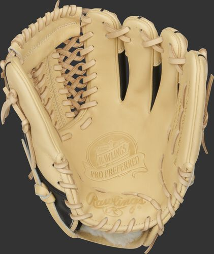 Camel palm of a Rawlings Pro Preferred infield/pitcher's glove with a camel web and laces - PROS205-4CSS