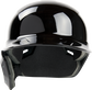 Front of a black, left handed Rawlings Mach single ear batting helmet - SKU: MSE01A-LHB image number null