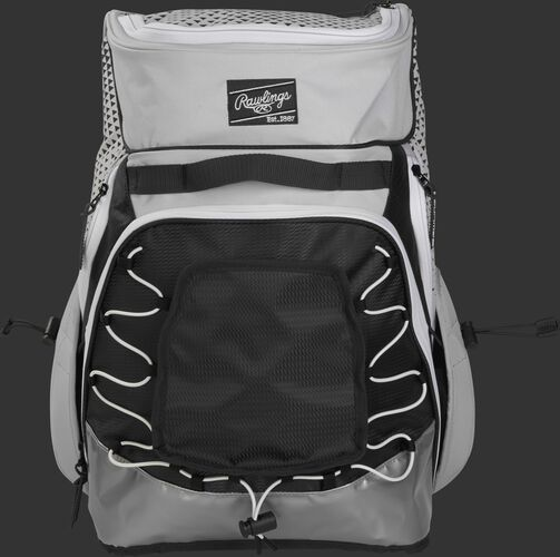 Front of a white/black R800 Rawlings softball backpack with a black patch and beaver tail external pocket