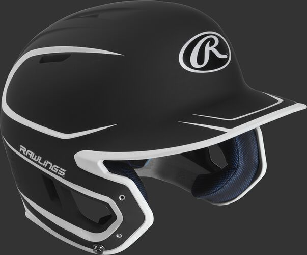 Right angle view of a matte MACH Senior batting helmet with a black/white shell