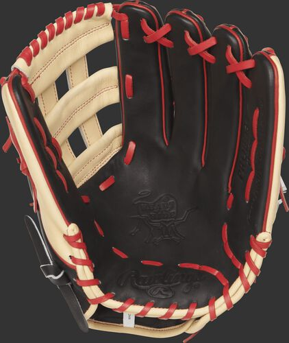 PROBH34 Heart of the Hide outfield glove with a black palm and scarlet laces