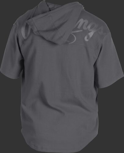 Back of a gray Rawlings Gold Collection short sleeve hoodie with a gray script Rawlings logo across the back - SKU: GJJ-GR