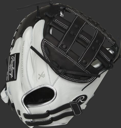 RLACM33FPBP 33-inch Liberty Advanced catcher's mitt with a white back, platinum binding/welting and adjustable pull strap