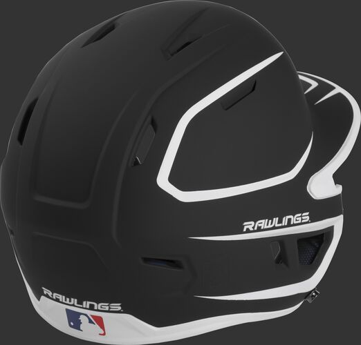 Back right of a two-tone matte black/white MACH Rawlings senior size batting helmet