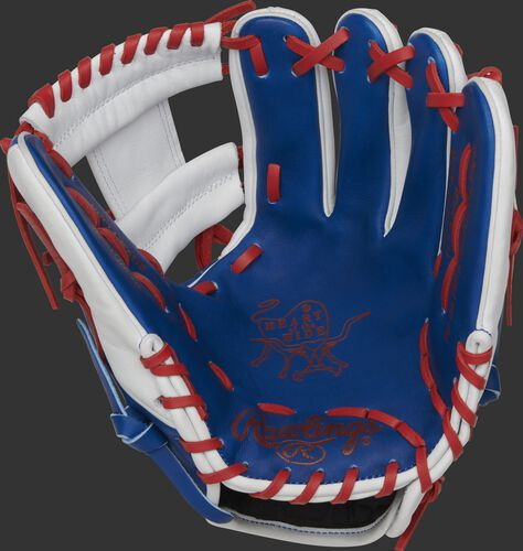 PRO204W-2DR Rawlings Heart of the Hide Dominican Republic glove with a royal palm, white web and scarlet laces
