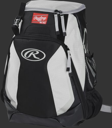 Left side of a black/white R500 Players team backpack with white trim