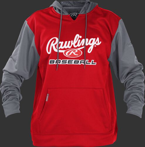 Front of Rawlings Scarlet/Gray Adult long Sleeve Hoodie - SKU #PFHPRBB-GR-88