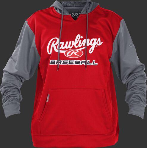 Front of Rawlings Scarlet/Gray Youth long Sleeve Hoodie - SKU #YPFHPRBB-GR-88