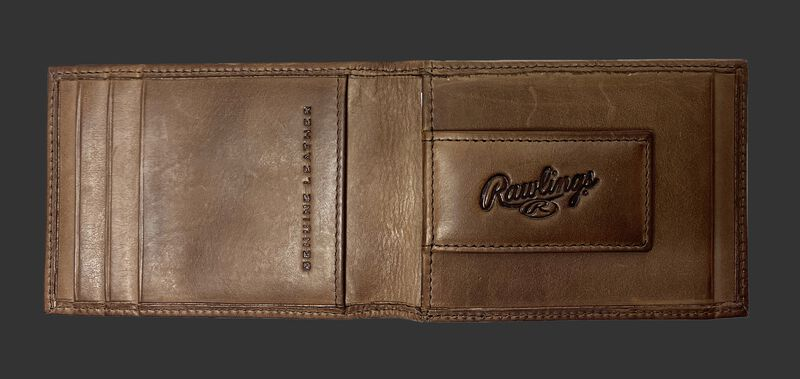 Inside of a brown Rawlings play ball front pocket wallet with a money clip - SKU MW496-200