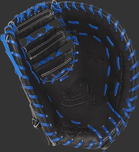 PROSAR44 Rawlings Anthony Rizzo first base mitt with a black palm and royal blue laces
