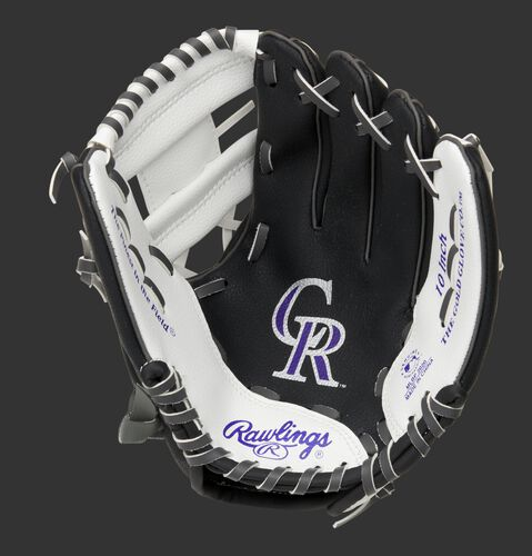 A black/white Rawlings Colorado Rockies youth glove with a Rockies logo stamped in the palm - SKU: 22000025111