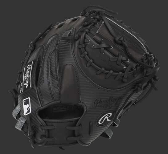 Black Hyper Shell back of a Pro Preferred 34-Inch catcher's mitt with a black finger pad - SKU: PROSCM41B