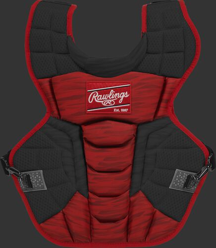 A scarlet/black CPV2N Rawlings Velo 2.0 intermediate chest protector with a striped pattern