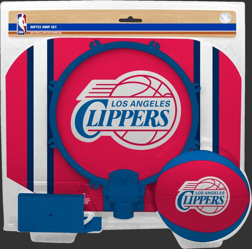 Rawlings Red and Blue NBA Los Angeles Clippers Softee Hoop Set With Team Logo On Basketball and Backboard SKU #03544219114