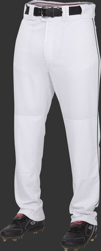 Front of Rawlings White/Dark Green Adult Semi-Relaxed Piped Pant - SKU #PRO150P-BG/DG-90