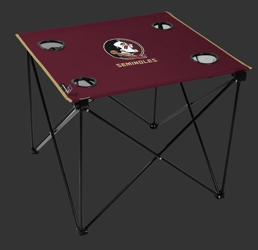 A maroon NCAA Florida State Seminoles deluxe tailgate table with four cup holders and team logo printed in the middle SKU #00713020111