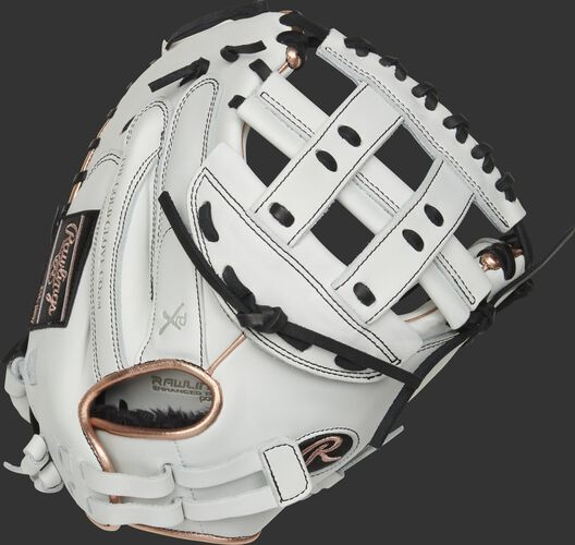 RLACM33FPRG 33-inch Liberty Advanced catcher's mitt with a white back, rose gold binding/welting and adjustable pull strap