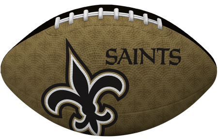 Gold side of a NFL New Orleans Saints Gridiron football with the team logo