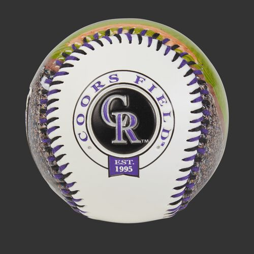 Colorado Rockies team logo on a MLB stadium baseball