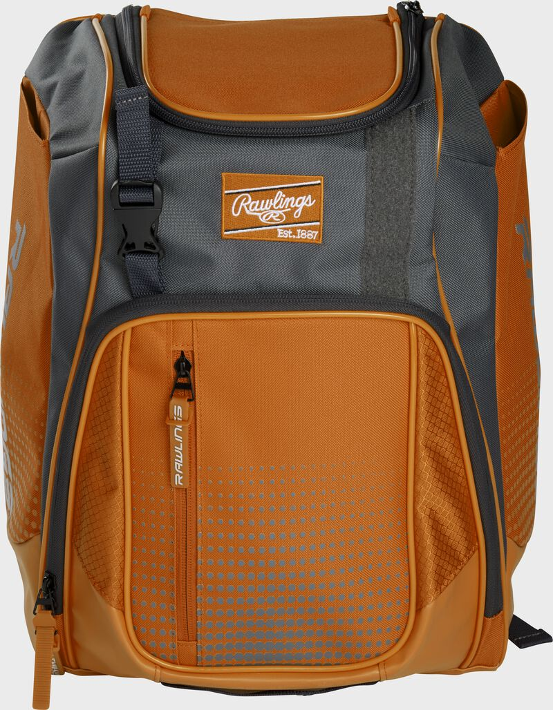 Front of an orange Franchise baseball backpack with gray accents and a orange Rawlings patch - SKU: FRANBP-O