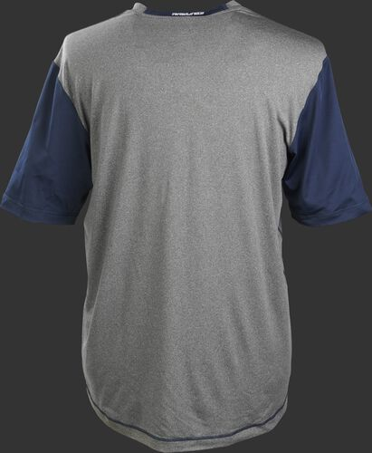 Back of a gray Rawlings Hurler short sleeve shirt with navy sleeves - SKU: HSSP-GR/N