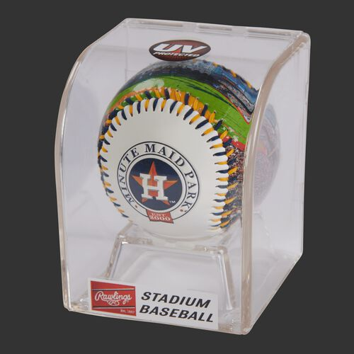 MLB Houston Astros stadium baseball in a display case