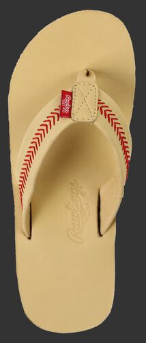 Rawlings Women's Baseball Stitch Nubuck Camel Leather Sandals With Red Baseball Stitch and Brand Name SKU #P-RF50002-101