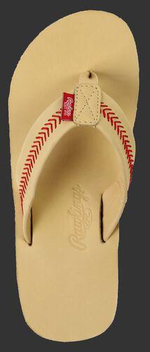 Rawlings Women's Baseball Stitch Nubuck Camel Leather Sandals With Red Baseball Stitch and Brand Name SKU #P-RF50002-101