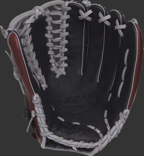 R96019BSGFS 12.75-inch Rawlings baseball glove with a black palm and grey laces