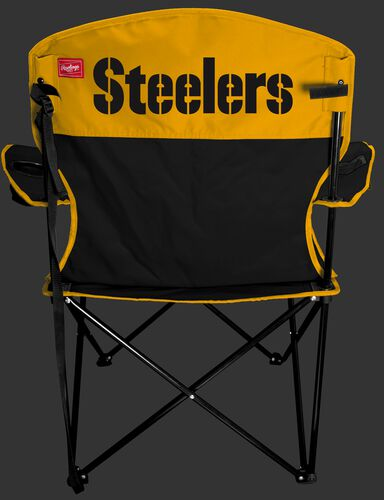 Back of Rawlings Black and Yellow NFL Pittsburgh Steelers Lineman Chair With Team Name SKU #31021082111