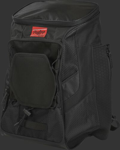 Front left of a black R600 Rawlings backpack without bats