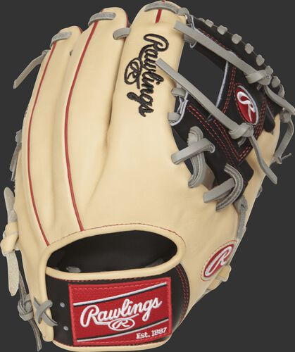 Rawlings PRO204-2CBG 11.5-inch infield glove with a camel back and scarlet welting