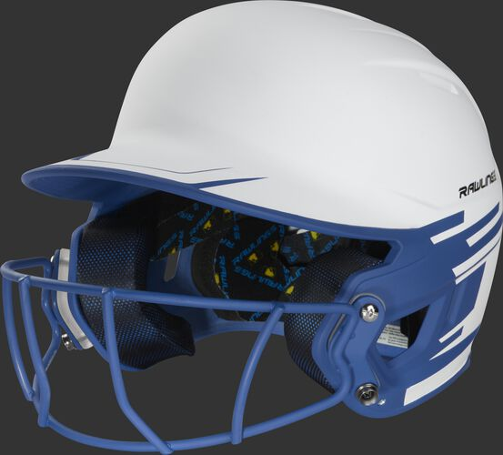 Front left of a white/royal Mach softball helmet with a royal mask - SKU: MSB13S-W/R